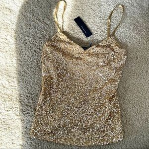 The Limited. Gold Sequin Tank Top